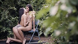 Back yard seduction in scenes of lesbian foreplay