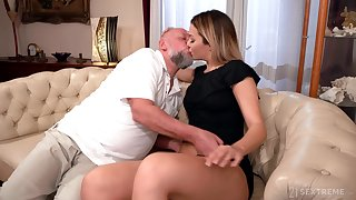 Old man facializes Bianca Hot goods pass muster eating and fucking her pleasure hole
