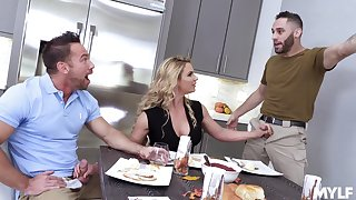 New dad's girlfriend Phoenix Marie gives a blowjob at near American anthem