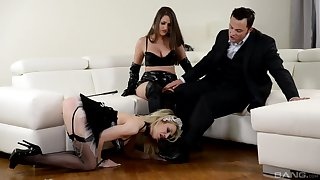 Strap-on fun during hardcore FFM threesome close by Chessie Kay and Linda J.