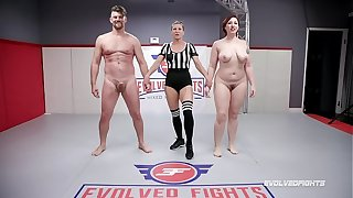 Naked Sex Skirmish Mistress Kara wrestles Jack Friday doing a 69 and being fucked fast