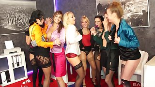 Glamour pornstars take gone their panties all over lick each other