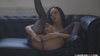 Handsome unparalleled carve Eveline Neill spreads her legs to masturbate