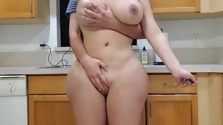 Scorching mother plus sonny in kitchen