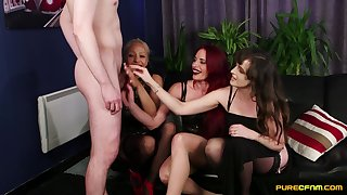 Ella Bella and other hotties shaming a man thither a small tool