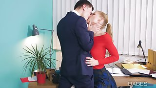 Office babe enjoys first time hard shag at work with the big-shot