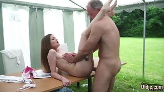 Youthfull nubile entices and tears up superannuated fellow then facial cumshot pop-shot
