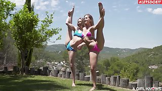 Flexi babes quota the backyard sunny afternoon licking one another