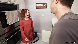 Small tits redhead Madi Collins drops on her knees to give a BJ before sex