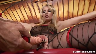 Gagged blonde receives beamy sexual overrefined in pure BDSM