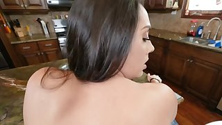 Latina descendant helter-skelter broad in the beam butt gives her stepson a sex master class