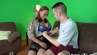 Horny cougar Eva May welcome a lucky  man