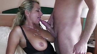 German Big Tit MILF coax Big Dick Young Boy to Fuck