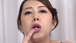 Kazama Yumi plays with long dildo in her mouth for slay rub elbows with best fun