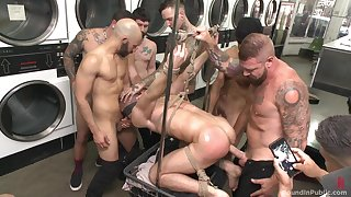 Gay orgy at the laundromat common to end with a bang