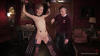 Skinny blonde plays submissive be expeditious for say no to old master