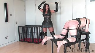 Busty Bit of all right Ezada uses her older starring role slave as A a fuck cookie