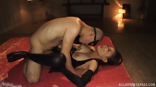 Gorgeous Japanese submissive lets Master execute as he wishes