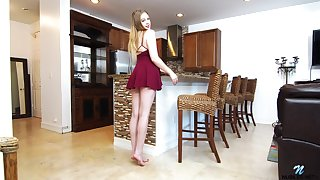 Lovely babe in arms Brie Viano is testing new sex toy right on the kitchen feed